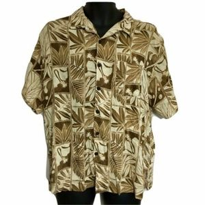 Quiksilver Camp Shirt Hawaiian Short Sl Button Tan